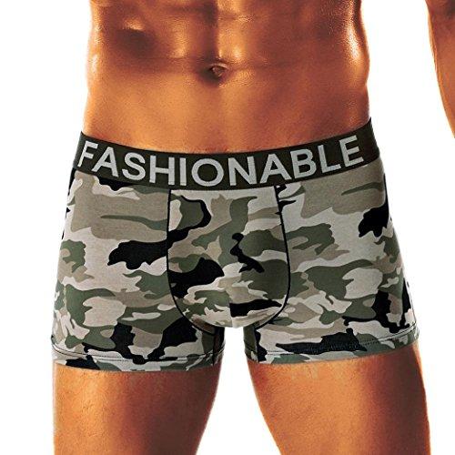 Bóxer Hombre, Lenfesh Calzoncillos de Camuflaje Hombres Calzoncillos Pantalones Cortos Ropa Interior de Camuflaje Sexy (2XL, Camuflaje #A)