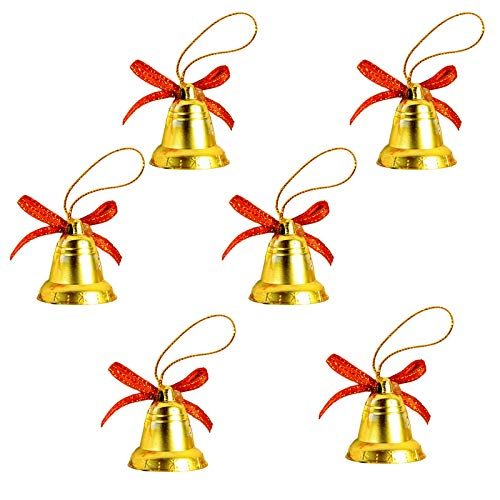 6 Stücke Weihnachtsbaum-Dekoration, Mini dekorative Glocken Bell Kleine goldene Bell Weihnachten party dekoration, Festival hängen Anhänger Dekor Weihnachtlicher Baumschmuck Weihnachtsdeko Verzierung