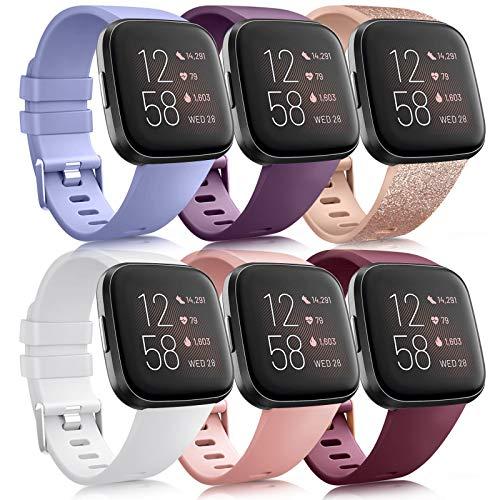 Oumida Pack 6 - Correa de repuesto para Fitbit Versa 2, correa de silicona suave para Fitbit Versa 2, Fitbit Versa, Versa Lite/Versa SE(Pack D,L)