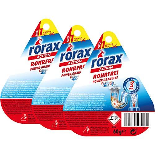 3x rorax Rohrfrei Power-Granulat Portionspack 60g - Wirkt sofort & löst selbst Haare auf