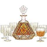 ROSG Piece Whisky Decanter Set con tapón de Vidrio, línea de Cristal de Vino de línea de Oro con 6 Gafas de Whisky, para escocés, Bourbon, Vodka, Caja de Regalo Hermosa, Conjunto de 7,Style Two