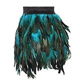 BBOHSS Las mujeres plumas mini falda elástica cintura traje más tamaño jaula arnés Punk Festival hombres Orgía desgaste (FZ021 - verde - Medium