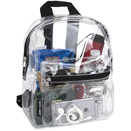 Water Resistant Clear Mini Backpacks for School, Beach - Stadium Approved Bag with Adjustable Straps...