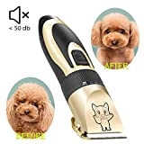 Dog Grooming Kit Clippers, Low Noise, Electric Quiet, Rechargeable, Cordless, Pet Hair Thick Coats Clippers Trimmers Set, Suitable for Dogs, Cats, and Other Pets (Gold)