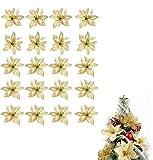 Flores Navidad Artificiales Flores Artificiales Decoraciones Árbol Navidad Boda Fiesta DIY Guirnaldas Adornos Navideños Manualidades Decoración Fiesta Dorado (13cm, 24pcs)
