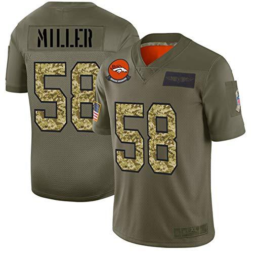 Herren Rugby Jersey, American Football Trikots Von Miller 58# Denver Broncos, Athletic Mesh Jersey T-Shirt Trikot-ArmyGreen-XXL