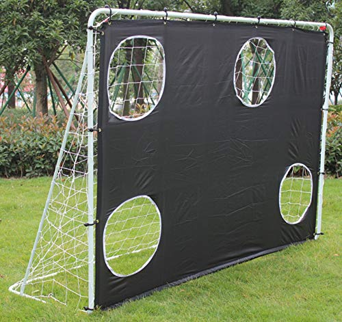 KL KLB Sport 7' x 5' Steel 3 in 1 Soccer Goal Target with 4 Scoring Zones – Includes Frame, Rebounder Net, Target Nets and Carry Bag – Portable Shot Accuracy Training Tool