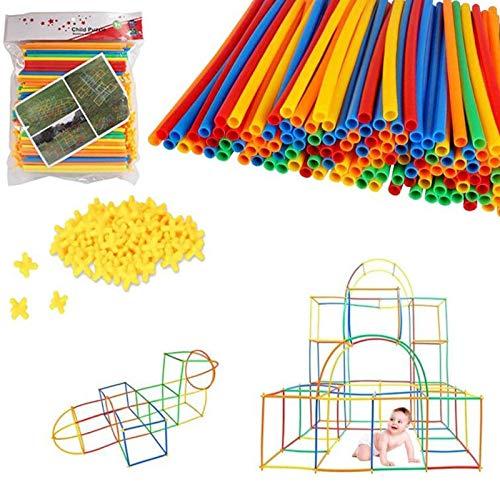 Boosns Bloques de construcción de ensamblaje de Paja de plástico Juguete Kit Conector de Paja (400)