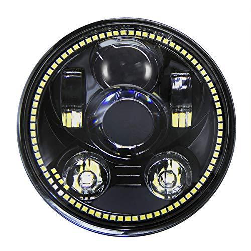 Wisamic 5-3/4 Phare rond de 5,75 pouce à LED compatible avec Davidson Dyna Street Bob Super Wide Glide Low Rider Night Rod Train Softail Deuce Custom Sportster Iron 883-Noir (noir avec auréole)
