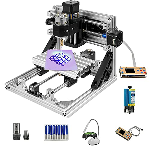 VEVOR Fresadora CNC 2418 Máquina de Grabado de 3 Ejes Fresadora Kit de Enrutador CNC 500mw Láser USB y Control Sin Conexión
