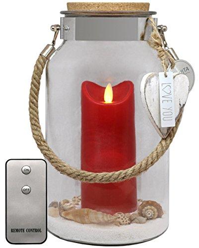 Dekovita 30cm Glas-Laterne m. Outdoor-Kerze Rot u. Fernbedienung Dekoglas Geschenk Liebe Muttertag Hochzeit Geburtstag
