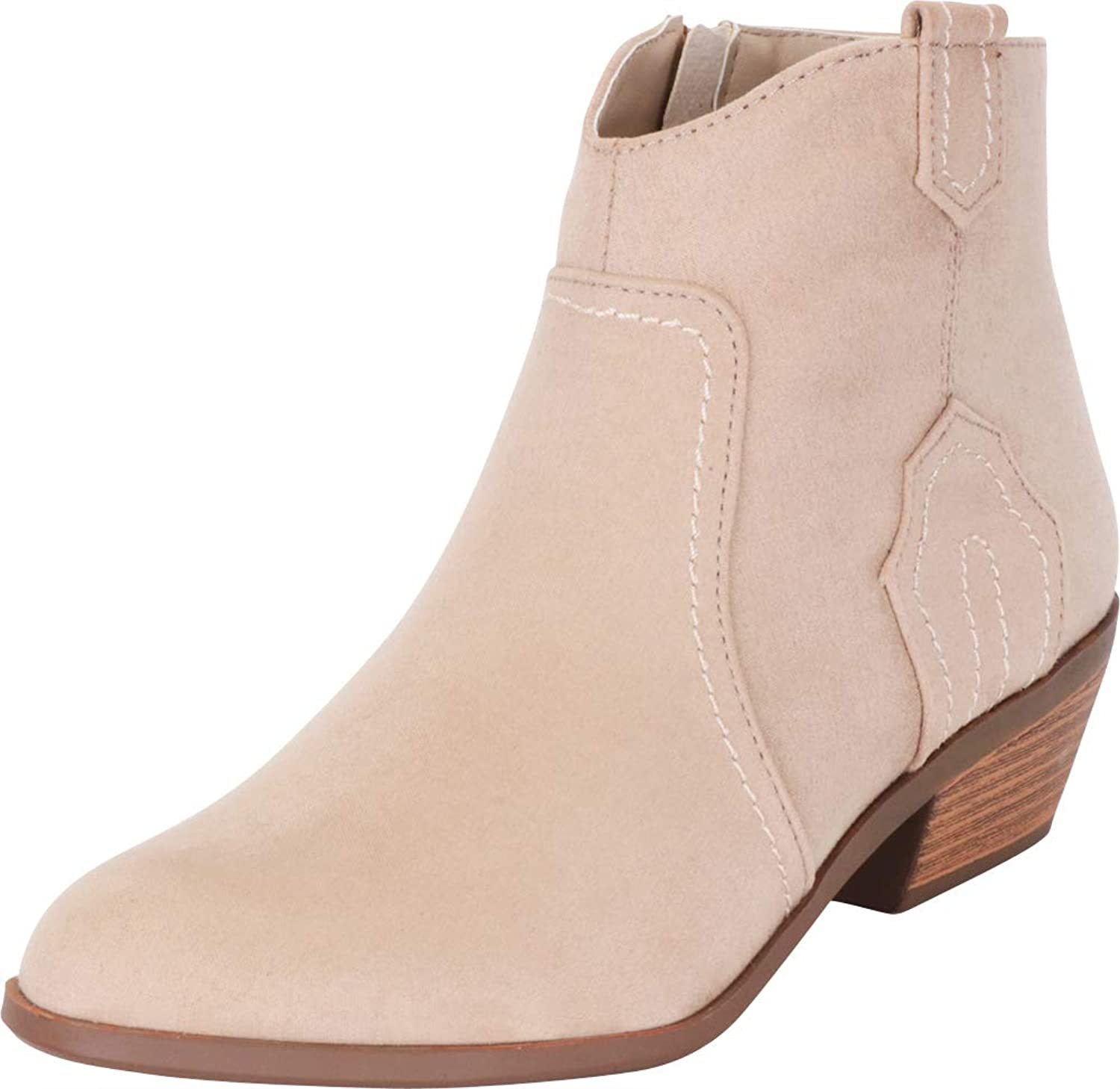 Cambridge Select Women's Western Stitched Low Stacked Heel Ankle Cowboy Boot