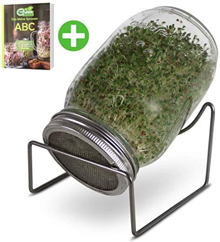 GreenSeeds Sprossenglas Keimglas 1er Set 1000ml mit hochwertigem Edelstahl-Gitterdeckel, Ständer + GRATIS Sprossen-ABC