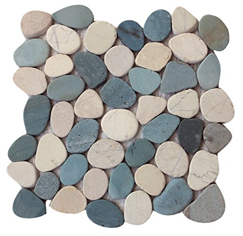 Interlocking Pebble Floor Tiles (5-Pack) Kitchen, Bathroom, and Patio Flooring | Indoor and Outdoor Use | Natural Green Indonesia Flat Stones | Quick and Easy Grout Installation