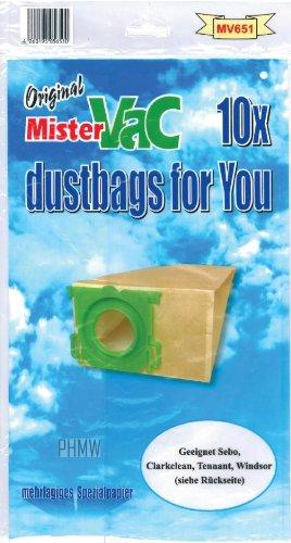 Mistervac MV 651 10 Staubsaugerbeutel geeignet für Sebo, Clarkclean, Tennant, Windsor