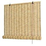 Persianas de rodillos de bambú, naturales hechos de caña, persianas de paja retro premium, filtrado ligero enrollar...