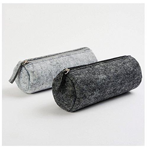 SIPLIV bolso de fieltro clásico bolígrafo/lápiz/bolsa de papelería caso cosmético, estilo redondo negro y gris, juego de 2