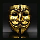 Hongfei Creative Gold/Silver V for Vendetta Guy Fawkes Mask Anonymous Halloween Q