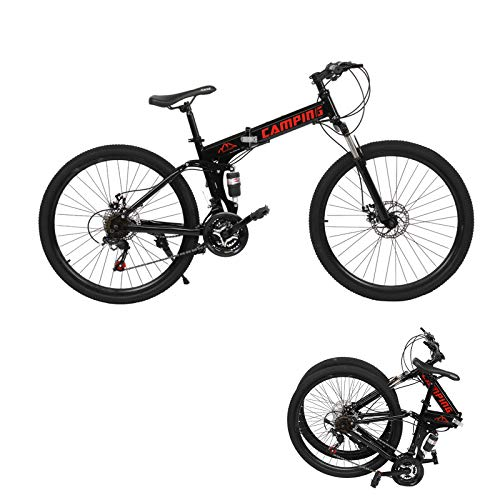 26' Folding Mountain Bike,21-Speed Full Suspension Foldable Bicycle Height adjustable Dual Disc Brake MTB