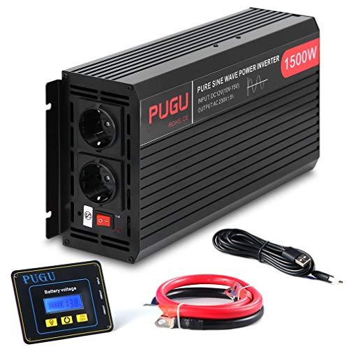 Poncherish Wechselrichter Reiner Sinus Spannungswandler 12V auf 230V Inverter mit Externe Bildschirm (1500W 3000W)