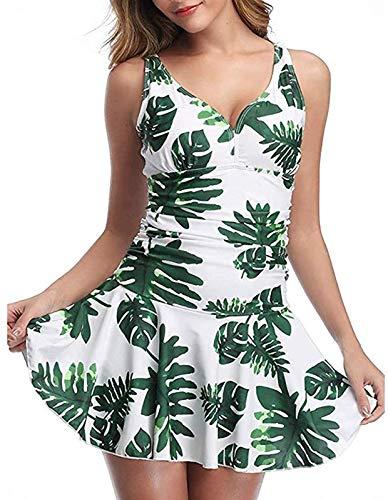 AGLOAT Traje de bao de una pieza para mujer, diseo floral, color liso, monokini ajustable o no ajustable, con correa para el hombro, traje de bao plisado, B-L