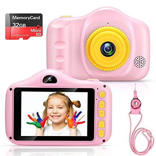 Voltenick Kids Camera Birthday for Girls Toys 3.5Inch 1080P HD Dual Lens Children Digital Cameras for Age 3-12 Year Old Girls Boys Toddlers with 32GB SD Card (Pink)