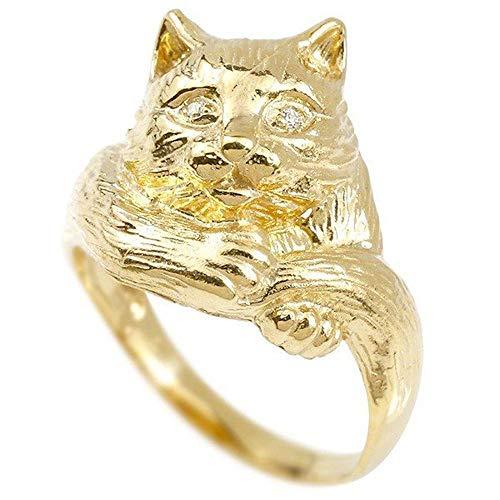 [アトラス]Atrus リング レディース 10金 イエローゴールドk10 ダイヤモンド 猫 幅広 指輪 宝石 17号