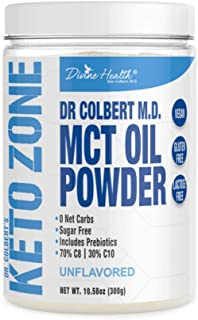 Dr. Colbert's Keto Zone MCT Oil Powder | Unflavored | 70% C8 | 30% C10 | 0 Net Carbs | Gluten Free | 30 Day Supply | 300g |