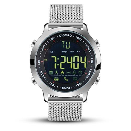 Diggro DI04 Smartwatch Bluetooth voor Android iOS Smartphone IPhone Samsung Huawei, meldingen bij oproepen en SMS, externe camera, wekker, stopwatch, IP68 waterdicht, smartwatch voor dames en heren, zilver