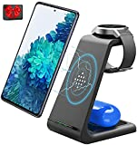 Wireless Charger,Qi-Certified Fast 3 in 1 Wireless Charging Station Stand for Samsung Galaxy Watch Active2/1,Gear S3/S2,Galaxy Buds Live,Samsung S20/S10/S10e/Note 20 Ultra 10/9/8/Z Flip(with Adapter)