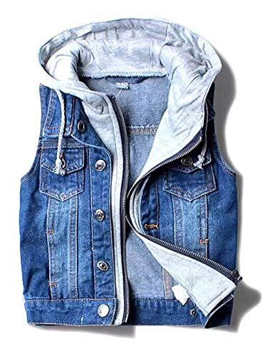 Glaiidy Kinder Baby Jungen Weste Ärmellose Jeansjacke Jeansweste Biker Fashion Vacation Geschenke Denim Slim Fit Outwear Mit Kapuze (Color : Colour, Size : 130/120Cm)