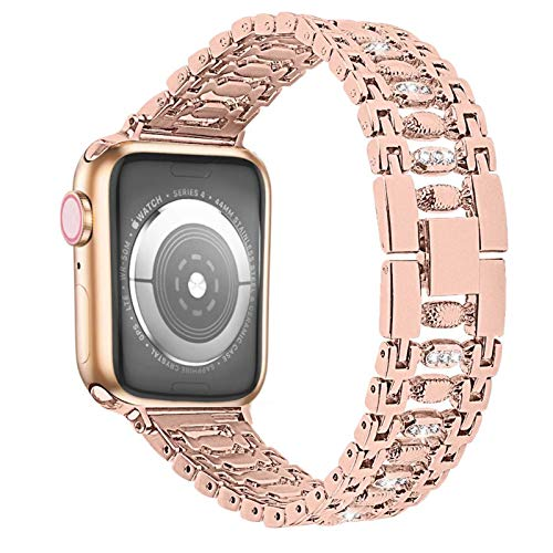 Diamond Stainless steel Strap apply to Apple watch band 40mm 44 mm 38mm 42mm bracelet watchband apply to Apple watch series 5 4 3 (Band Color : Rose gold, Band Width : 38mm or 40mm)