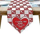 Runner da tavola invernale, San Valentino Ti amo di più The End I Win Heart Red White Burlap Table Runner Dresser Sciarpe per cena in famiglia, Feste all'aperto/al coperto, Raduno, 18x72 pollici
