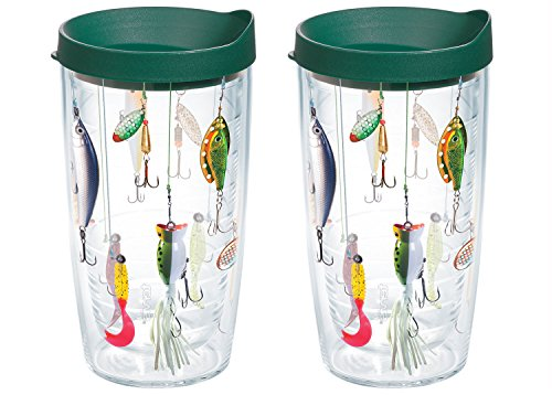 Tervis Fishing Lures Tumbler with Wrap and Hunter Green Lid 16oz, Clear