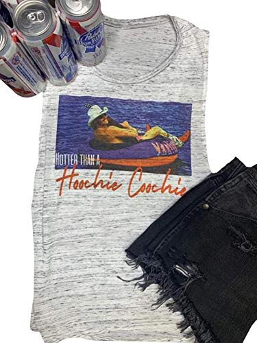 Women's Hotter Than a Hoochie Coochie Workout Tank Top Novelty Funny Country Graphic Tee Top Size M (Gray)