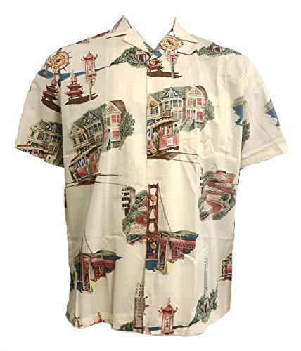 Men's San Francisco Hawaiian Aloha Vintage Cotton Lawn Shirt in Cream - XL