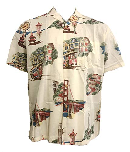 Men's San Francisco Hawaiian Aloha Vintage Cotton Lawn Shirt in Cream - XL
