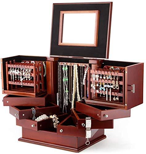 Multifunctional Caja de almacenamiento de joyería de madera de lujo de gran capacidad 2 laterales y 2 puertas independientes Pendientes Pulsera Pulsera Caja de acabado (Color: a) ( Color : A )