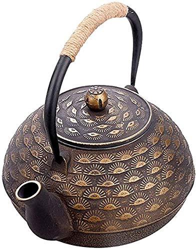 DXP-shop Caldera de Hierro Fundido de 1.8L - Gran Tetera de Hierro Fundido con Acero Inoxidable-Infusor - Tetsubin Estilo japonés Tea Pot Caldera - Prepara Taza de té