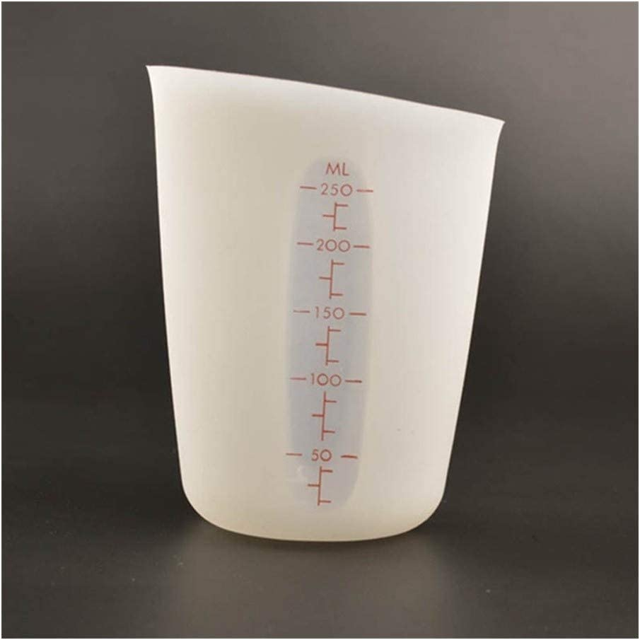 YQUC Tasche Doppel-Skala Küche Messwerkzeuge Kochzubehör Semipermeable Measuring Cup 250ML Silikon Food Grade Sicht Küche (Color : Pink) White