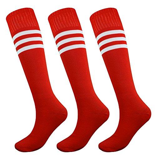 Fitliva Tube Dress Teen Adolescence Athlete Long Dress Cheerleader Football Team Socks with White Stripe (3pairs-Red)
