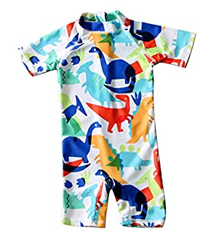 Baby Toddler Boys Swimsuit One Piece Zipper Bathing Set Swimwear Suit Rash Guards Shirts UPF 50+  Cute Dinosaur 18-24 Months