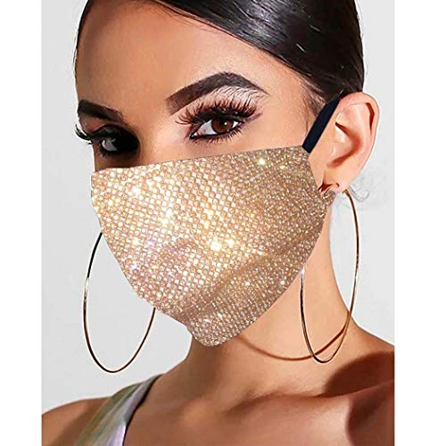 Fstrend Sparkly Rhinestones Mesh Face Mask Silver Bling Crystal Masks Halloween Clubwear Ball Party Masquerade (Gold)