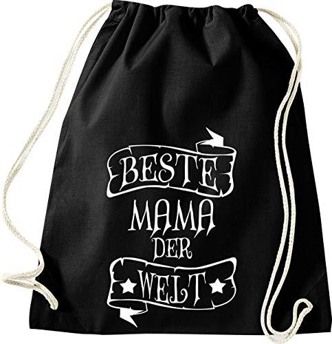 Shirtinstyle Gym Sack Turnbeutel Beste Mama der Welt Retro Style, Farbe Schwarz