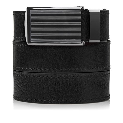 SlideBelts Top Grain Leather Ratchet Belt (Black with...
