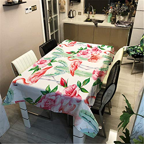 Manteles de Mesa Impresión 3D Mantel, Morbuy Rectangular Impermeable Antimanchas Lavable Prueba de Polvo Poliéster Manteles para Cocina Comedor Decoración del Hogar (140x140cm,Flor Rosa)