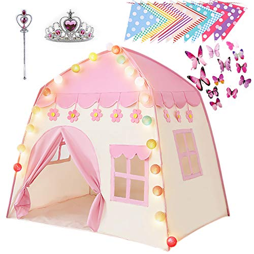 Bebila Princess Castle Play Tent Kids Tent Large Children Playhouse for Indoor Outdoor with Lights...