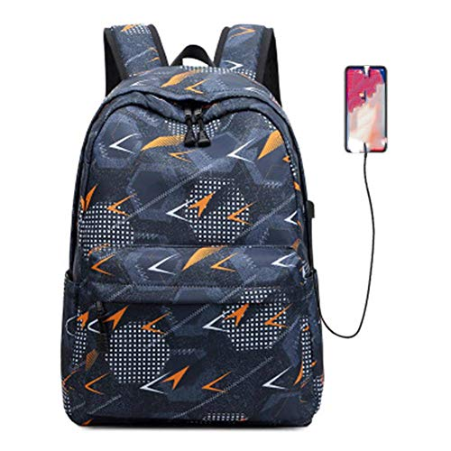 Travel Laptop Backpack Black Orange USB Rechargeable Nylon Waterproof Fits Laptop15*30 * 43cm