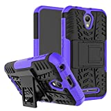 pinlu® Etui Schutzhülle Für ZTE Blade L110 Handyhülle Hybrid Dual Layer Case TPU + PC Kombination Fall Stoßfest mit Stand-Funktion Reifen Muster Lila