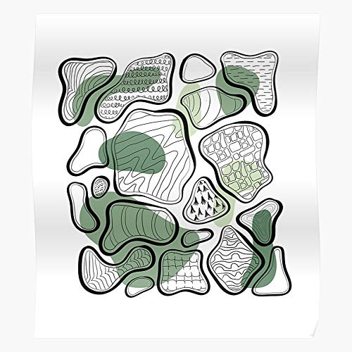 Lines Green Linework Outlines Pattern Tree Abstract Bark Geschenk für Wohnkultur Wandkunst drucken Poster 11.7 x 16.5 inch